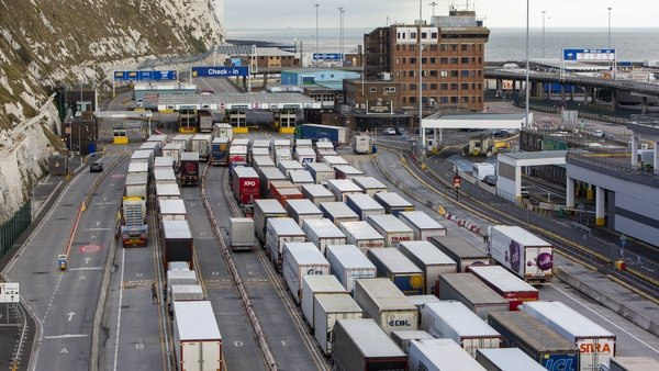 Lorries line up at frontier control barriers for departure in Dover awaiting ferries to mainland Europe