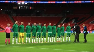The Republic of Ireland line up for the national anthems during the international friendly against England at Wembley