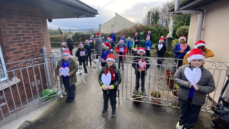 The           youngsters gathered outside Mount Cara on Redemption Road in           their school bubbles and sang their hearts out