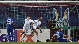 Allahyar Sayyad celebrates scoring the winning goal as Zorya Luhansk beat Leicester 1-0 in Ukraine