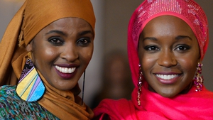 Ifrah Ahmed (left) and A Girl from Mogadishu star Aja Naomi King during filming in Dublin in February 2018