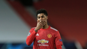 Rashford was forced off with a shoulder issue against PSG