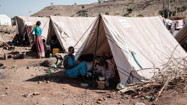 Refugees fleeing Tigray conflict stay in tents at Um Raquba reception camp in Sudan (Getty Images)