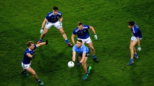 Paddy Small of Dublin surrounded by Cavan players during the All Ireland semi-final at Croke Park ealier this month