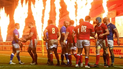 Wales players celebrate after the Autumn Nations Cup match