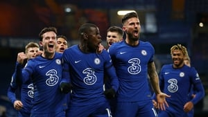 Kurt Zouma celebrates with Ben Chilwell and Olivier Giroud lead celebrations after the second goal