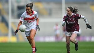 Doireann O'Sullivan of Cork in action against Nicola Ward of Galway