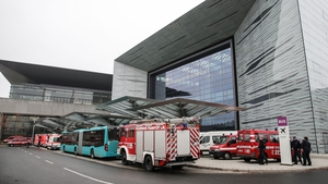 Ambulances and fire trucks at Hall 11 of Messe Frankfurt in Frankfurt, where people from the Gallus area were evacuated