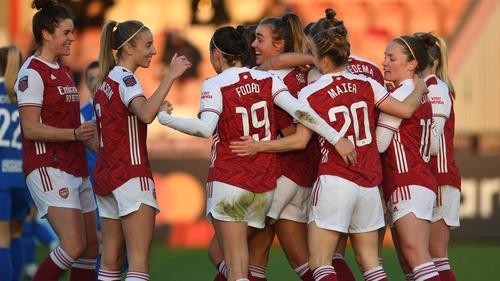Jill Roord celebrates scoring Arsenal's second goal