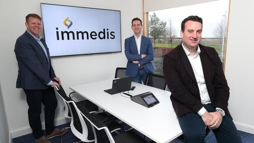 Celebrating the announcement at their offices in Kilkenny are Mark Graham, Chief Commercial Officer Immedis (left) with Terry Clune, Chairman Immedis and Ruairi Kelleher, CEO Immedis