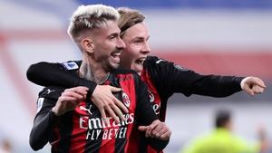 Samu Castillejo celebrates scoring AC Milan's second goal