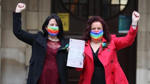 Amanda McGurk (left) and Cara McCann celebrate outside Belfast City Hall