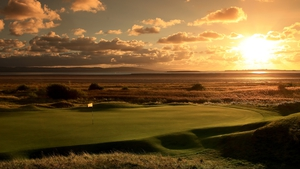 The sun sets on the 11th hole at Royal Liverpool golf club