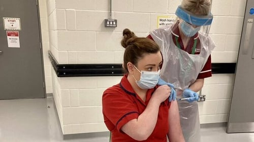 Nurse Joanna Sloan was the first person on the island of Ireland to receive a Covid-19 vaccination