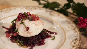 Paul Flynn's burrata with sticky red cabbage, pomegranate and orange.