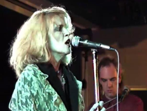 Barbara Woods and Trevor Knight of Auto Da Fé on stage in Sligo in a report from TV GAGA (1986)