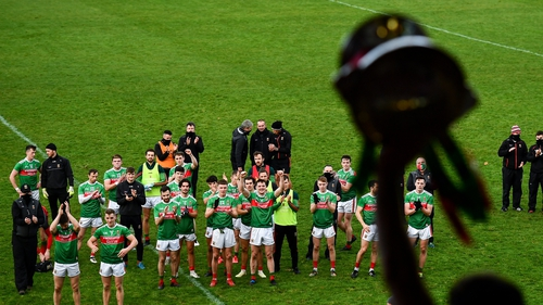 Mayo players look on after winning the 2020 Connacht final