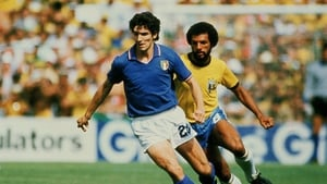 Paolo Rossi in action against Brazil in 1982 when he would score a famous hat-trick