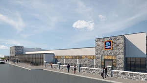 A computer generated image of the new Aldi store in Ballybrit in Galway