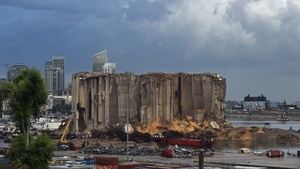 A view of the damaged grain silos in Beirut port