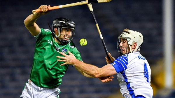 Limerick's Graeme Mulcahy tries to block Shane McNulty during the Munster hurling final