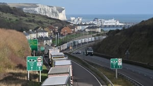 Trucks backed up at the Port of Dover today