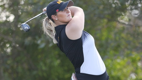 Olivia Mehaffey in action on the 12th hole during her first round in Houston