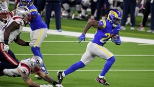 The Rams relied on their ground game to beat the Patriots, with running back Cam Akers rushing for 171 yards off 29 carries