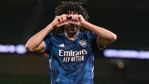 Mohamed Elneny celebrates his strike in the 4-2 win over Dundalk at the Aviva