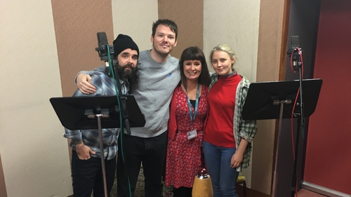 Left to right: Sound designer Damian Chennells, Lloyd Cooney, director Gorretti Slavin, and Roxanna Nic Liam