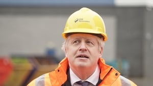 The UK Prime Minister Boris Johnson during a visit to the National Renewable Energy Centre in Blyth, Northumberland earlier today