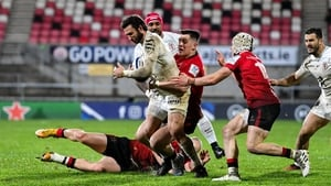 Maxime Medard is tackled by James Hume