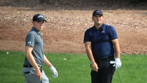 Matthew Fitzpatrick (L) and Patrick Reed are joint leaders along with Laurie Carter