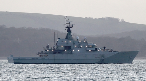 Royal Navy patrol vessel HMS Mersey at anchor off the Isle of Wight