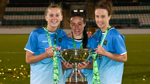 Peamount United players, from left, Claire Walsh, Áine O'Gorman and Karen Duggan
