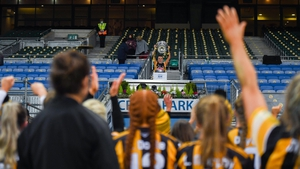 Mary O'Connell of Kilkenny lifts the O'Duffy Cup