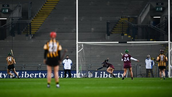 Denise Gaule rifles home her penalty in the closing stages of the All-Ireland final