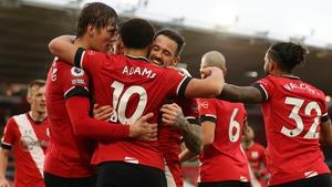 Che Adams celebrates his goal for Southampton