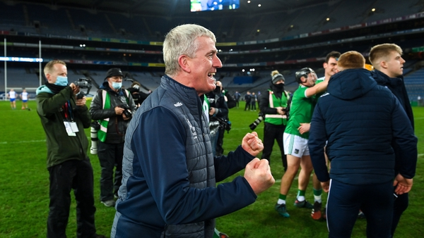 Limerick manager John Kiely celebrates after his team's victory in the All-Ireland final