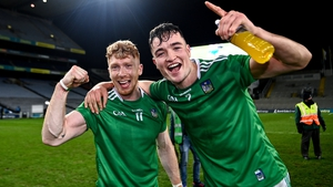 Cian Lynch (L) and Kyle Hayes celebrate Limerick's All-Ireland final victory