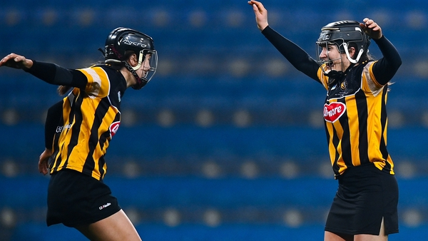 Claire Phelan (R) and Aoife Norris of Kilkenny celebrate at the final whistle