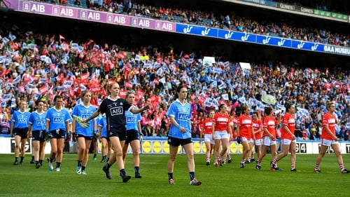 Dublin and Cork parade before the 2018 final