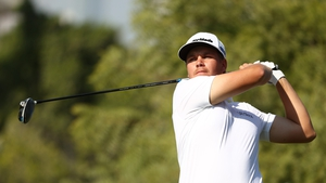 Sami Valimaki tees off during Day 4 of the DP World Tour Championship