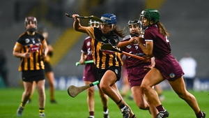 Mary O'Connell of Kilkenny in battles past Heather Cooney during last weekend's final