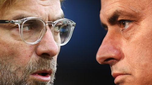 Jurgen Klopp (L) and Jose Mourinho's teams are joint top of the Premier League and go head to head on Wednesday