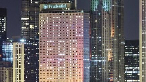 'Mayo for Sam' has been displayed on the Prudential Building by the city's Federation of Labor