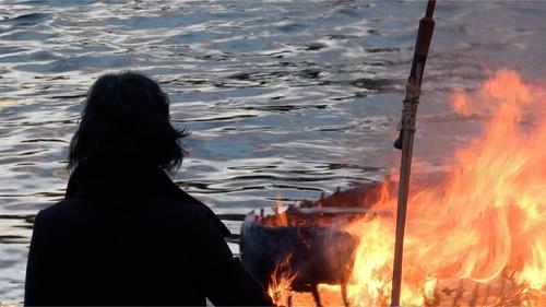 The one-man Boyne currach was set ablaze in the shadow of Sceilg Mhichíl