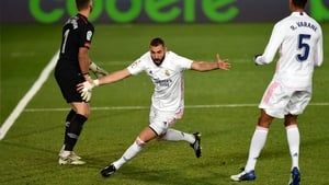 Karim Benzema turns away after Real's second