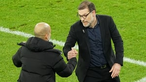 Bilic embraces City manager Pep Guardiola folling the 1-1 draw last night