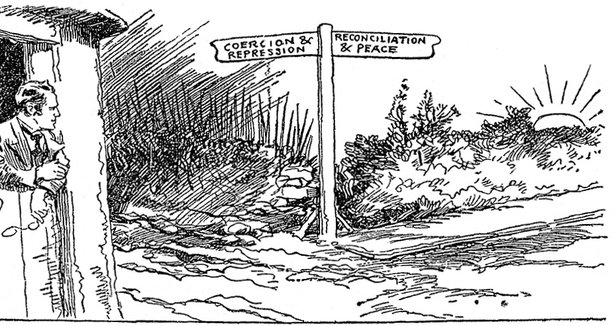 Cartoon from the Sunday Independent on the crossroads at which Ireland found itself in late 1920 Photo: Sunday Independent, 28 November 1920